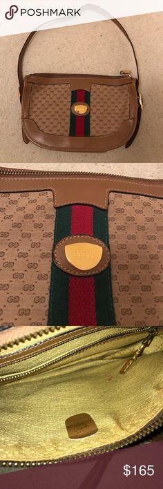 Vintage GUCCI Purse Bag RARE Classic Logo GG Incredible vintage GUCCI bag, great vintage condition overall, small red pen mark on inside lining as shown in 3rd pic, wonderful RARE find Gucci Bags