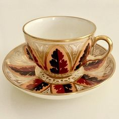 Antique Ridgway teacup and saucer, bute shape with acanthus pattern, Regency ca 1810