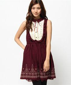 axes femme(アクシーズファム)の裾刺繍ブロッキングワンピース(ワンピース)|ワイン