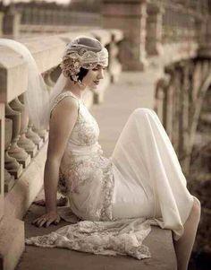 Wedding Inspiration - Great Gatsby / Lace back wedding dress. Gatsby Wedding Dress, 1920s Wedding, Dream Wedding, Flapper Wedding, Gipsy Wedding, Gatsby Party, Bling Wedding, Forest Wedding, Woodland Wedding