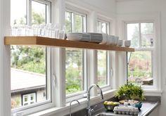 trendy kitchen window over sink open shelving cabinets Shelf Over Window, Kitchen Window Shelves, Kitchen Shelf Design, Kitchen Storage, Kitchen Windows, Window Table, Corner Windows, Big Windows, Rustic Kitchen