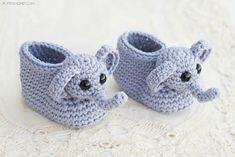 Elephant Booties Crochet Pattern | Make this adorable gift for your next baby shower!