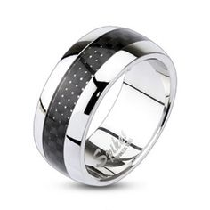 9mm Carbon Fiber Inlay Center Dome Band Ring 316L Stainless Steel Men's Ring