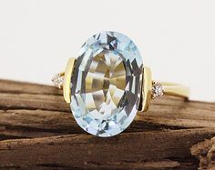 Vintage Engagement Ring Aquamarine Ring Diamond Ring 18k Yellow Gold Ring Solitaire Ring Gemstone Ring Cocktail Ring Size 6.75