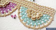 MyPicot | Free crochet patterns: 3039 Free Crochet Flower Edging - Diagram + step by step photo tutorial.