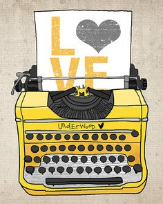 Typewriter & color love. I especially love this since it's the Underwood brand of typewriters.