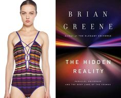 "Bookish bathing suits! A ""The Hidden Reality"" (by Brian Greene) inspired one-piece!"