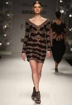 b8528de6430 Buy Black   nude motif dress by Malini Ramani at Aza Fashions