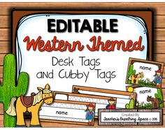 EDITABLE Western-Themed Desk Tags and Cubby Tags... Perfect for a Western or Cowboy Themed Classroom!