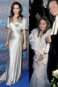 Now: At the Critics' Choice Movie Awards Then: With her dad at the 58th Annual Academy Awards in 1986   - ELLE.com
