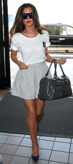 Cheryl Cole in a casual skirt look.