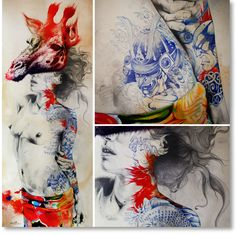 Gabriel Moreno | Giraffe...[digital print, pencil, pen, pen ball, and watercolor, on wood board. 7 1/2' x 3' ]