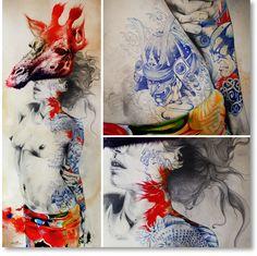 Gabriel Moreno   Giraffe...[digital print, pencil, pen, pen ball, and watercolor, on wood board. 7 1/2' x 3' ]