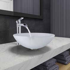 Vigo White Frost Vessel Bathroom Sink and Niko Faucet Set in