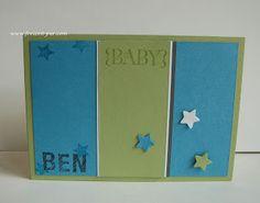 StampinUp! Sterne zur Geburt Einzigartig, ABC-123 Sketch Alphabet & Numbers Namenskarte Ozeanblau, Mattgrün, Grau, Weiß
