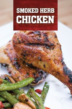 Irresistible, smoky, and crispy-skinned smoked chicken. Marinated in olive oil and herbs. Deliciously crispy, juicy and tender! Pellet Grill Recipes, Smoker Recipes, Grilling Recipes, Meat Recipes, How To Cook Pheasant, Herb Chicken Recipes, Smoked Chicken, Cooking Turkey, Light Recipes
