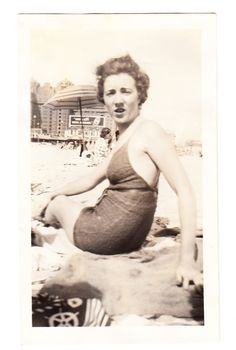 Who Me vintage photo Pretty Swimsuit Beach Teen Girl Woman 1930s snapshot by americathebeautiful on Etsy