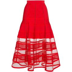 Alexander McQueen jacquard knit skirt ($4,195) ❤ liked on Polyvore featuring skirts, red, stretchy skirts, alexander mcqueen skirt, red knit skirt, jacquard skirt and red knee length skirt