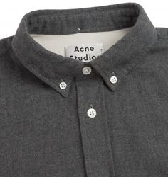 ACNE STUDIOS 'ISHERWOOD' FLANNEL SHIRT. Grey. £185.00