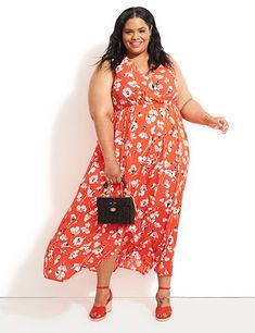 Plus Size Fashion: Maxi dresses are super trendy this summer. And are you trying out bright colors? Go for a red dress paired with red sandals! Wedding Dresses Plus Size, Plus Size Maxi Dresses, Plus Size Wedding, Plus Size Outfits, Plus Size Clothing Stores, Stylish Plus, Going Out Outfits, Long Tops, Spring Dresses