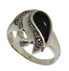 925 Sterling Silver Marcasite Ring Black Agate