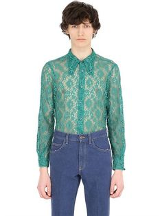 GUCCI Lace Shirt With 70'S Style Collar, Green. #gucci #cloth #shirts