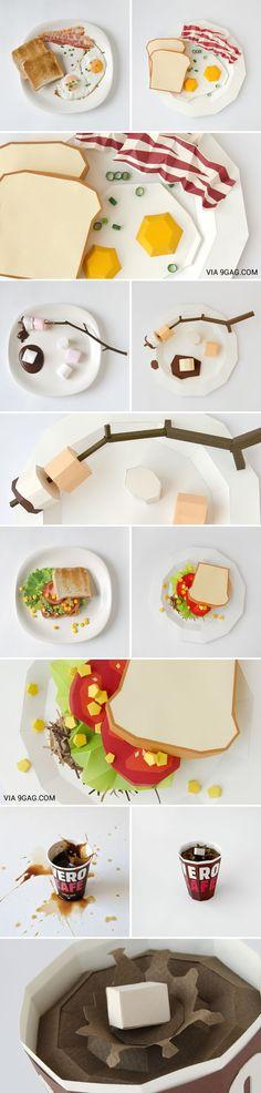 L'art des aliments en papier