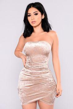 Beating Heart Velvet Dress - Champagne