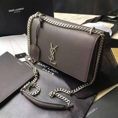 Limited Saint Laurent Bags Cheap Sale-Saint Laurent Medium Sunset Monogram Bag  in Dark Anthracite Grained Leather 1652ac25783b0