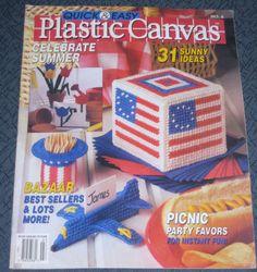 Vintage Plastic Canvas June / July 1990 Issue Picnic Party Favors Swan Tulips #PlasticCanvas