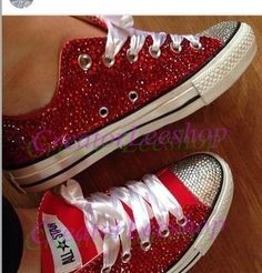 red sparkle bridal sneakers shoes ruby crystal bling converse wedding shoes bling converse bridal shoes lace ribbon accept custom color by CreatorLeeshop on Etsy www.etsy.com/...
