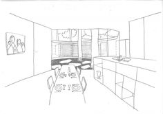 kitchen sketch - house BM - architecten de vylder vinck taillieu