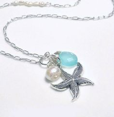 Silver Starfish Necklace   Pearl & Starfish by GlassPalaceArts