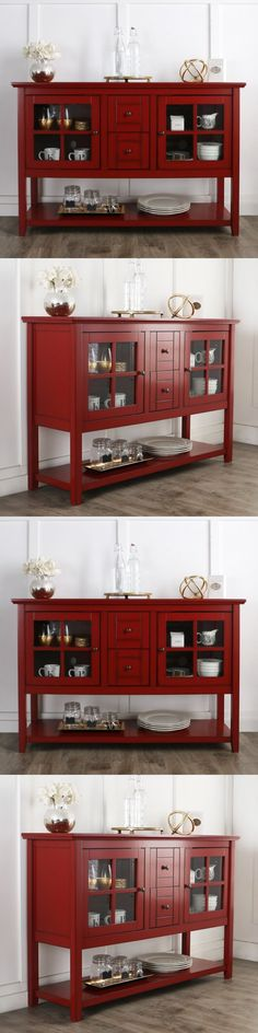 Sideboards And Buffets 183322: Large Dining Room Cabinet Red Buffet Table  Kitchen Console Storage Antique