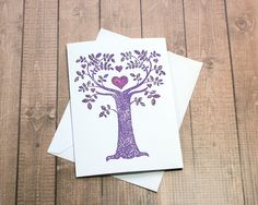 "Sparkling Purple Love Tree Greeting, Note, Wedding, Engagement, Mother's Day, Birthday Card - 4.5"" x 5"" by PaperDahlsLLC on Etsy"