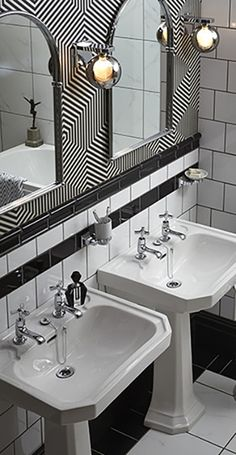 Twin Basins in this Art Deco style monochrome bathroom. Twin Basins in this Art Deco style monochrome bathroom. Casa Art Deco, Art Deco Home, Bad Inspiration, Bathroom Inspiration, Bathroom Styling, Bathroom Interior Design, Art Deco Interior Bedroom, Interiores Art Deco, Heritage Bathroom