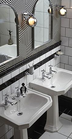 Twin Basins in this Art Deco style monochrome bathroom.