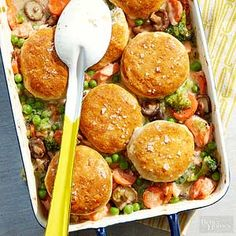 This creamy salmon casserole is topped with tender cornmeal biscuits.
