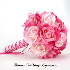 19 best flower delivery calgary images on pinterest flower items similar to bridal bouquet pink roses real touch silk wedding flowers package light hot pink on etsy mightylinksfo