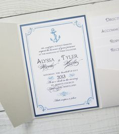 Anchor Wedding Invitation  Nautical Pocket by RiverCityStudio, $7.50