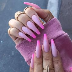 Newest Coffin Nails Art Designs To Try In 2019 spring;,Newest Coffin Nails Art Designs To Try In 2019 spring; Cute Nails, Pretty Nails, My Nails, Glitter Nails, Pink Stiletto Nails, Coffin Nails Long, Long Nails, Pink Coffin, Long Nail Art