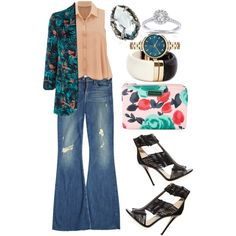 Outfit work by francescacar on Polyvore featuring moda, Monsoon, McGuire, Jimmy Choo, MARC BY MARC JACOBS, Alexis Bittar, Annello and H&M