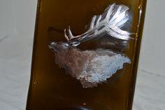 Hand Painted Elk Amber Brown Glass Wine Bottle by oldcargirl, $29.00