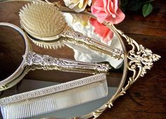 Vintage Brush Comb and Hand Mirror.. so Happy to say I own my Great Grandmothers old set.