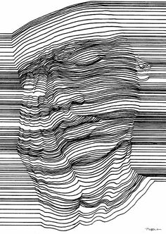 op art, printmaking, contour drawing, line drawing art, Optical Illusions Drawings, Illusions Mind, Illusion Drawings, Art Optical, 3d Drawings, Optical Illusion Art, Abstract Drawings, Abstract Lines, Pencil Drawings