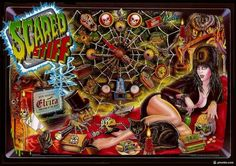 "Hi-rez shot of bewitching vampiress Elvira's popular pinball machine ""Scared Stiff! Scared Stiff, Air Drone, Pinball Wizard, Flipper, Horror Movie Characters, Game Themes, Cool Poses, Little Games, Horror House"