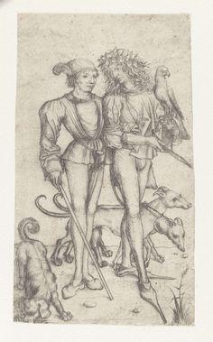 Valkenier en metgezel, Meester van het Amsterdamse Kabinet, 1483