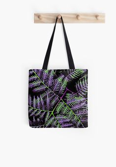 'Purple & Green Bracken' Tote Bag  by Moonshine Paradise #redbubble #nature #art #photography #bags