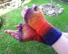 Rainbow fingerless mitts by Stefily on Etsy