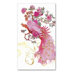 PixDezines pink peacock/diy background color Business Card #peacocks #peafowl #businesscards #pink #zazzle